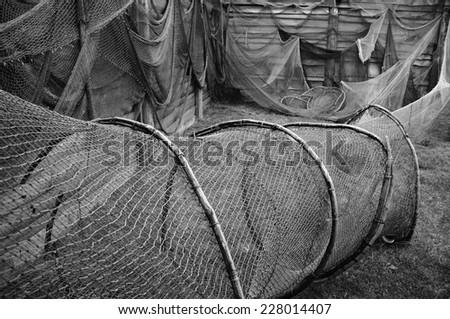 Old fishing nets.         - stock photo