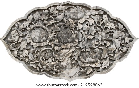 old flower stone wallpaper on white background - stock photo