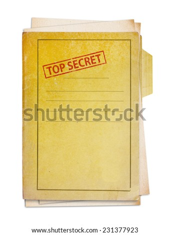 Old folder with top secret stamp, clipping path. - stock photo