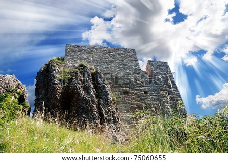 old fort under cool sky - stock photo
