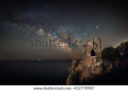 Old fortress in the night under the milky way - stock photo