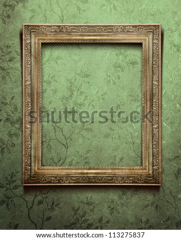 Old frame in vintage interior - stock photo