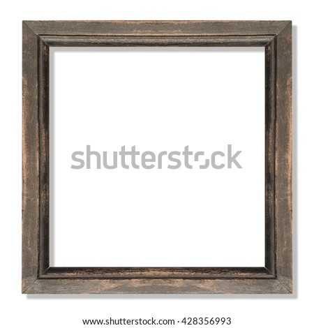 old frame ,wooden frame isolated on white - stock photo
