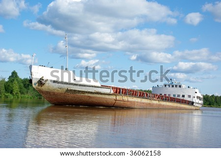 old freighter - stock photo
