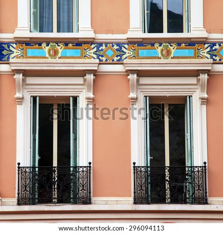 old french shutter windows and balcony, Monaco, Monte Carlo. Square image - stock photo