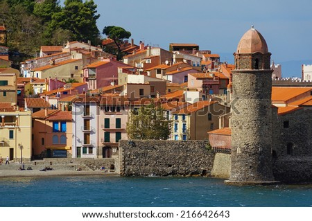 old French village of Collioure on the shore of the Mediterranean sea, Pyrenees-Orientales, Languedoc-Roussillon - stock photo