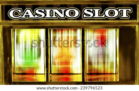 old fruit machine spining - stock photo