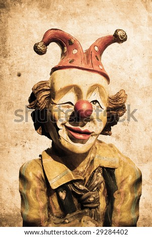 old funny clown in retro design look - stock photo