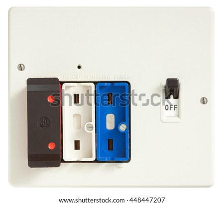 Old Fuse box with two fuses removed isolated on white with clipping path - stock photo