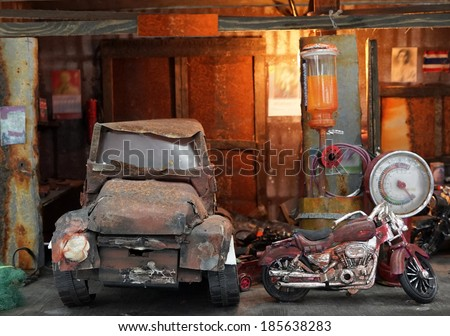 Old garage, old car, old motorcycle - stock photo