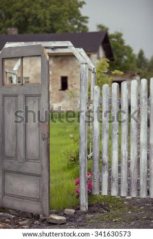 Old garden gate  - stock photo