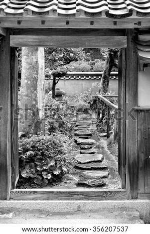 Old Garden in Iwakuni, Yamaguchi, Japan - stock photo