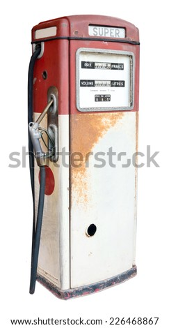 old gas pump isolated on white - stock photo