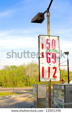 Old gas pumps with old gas prices. - stock photo