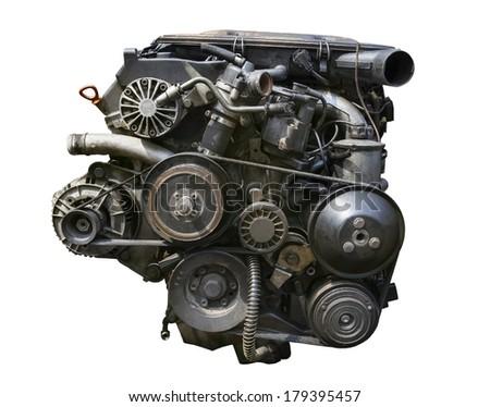 old gasoline engine isolated white background - stock photo