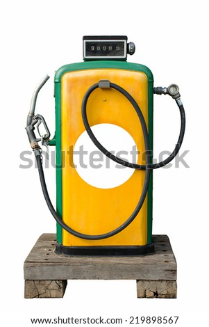 old gasoline pump in retro design isolated on white background - stock photo