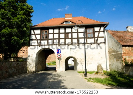 old gate to the city Lagow in Poland - stock photo
