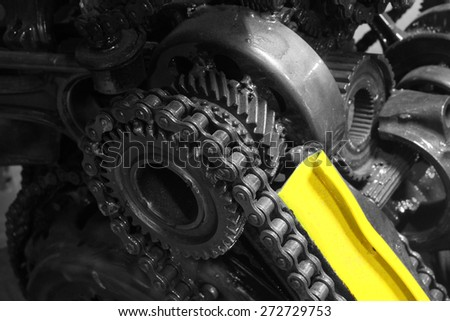 old gear and chain, machinery part background - stock photo
