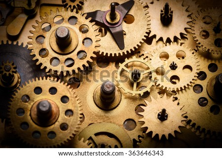 Old gears and cogs - stock photo