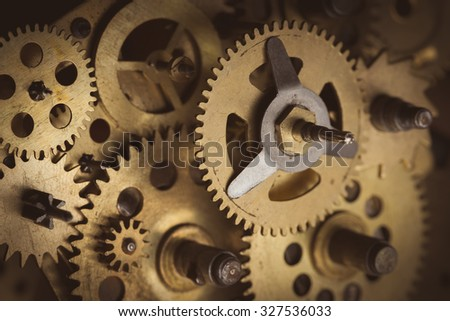 Old gears and cogs macro - stock photo