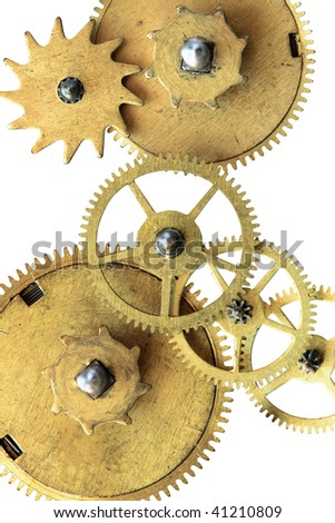 Old gears isolated on white background with clipping path - stock photo
