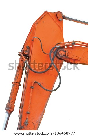 Old Generic Excavator Dipper And Boom Plus Bucket Ram Vertical Closeup, Isolated Orange Yellow Details, Backhoe Dozer Hydraulics Hoses, Links, Pistons, Bolts - stock photo