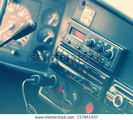 Old generic truck dashboard. Toned - stock photo