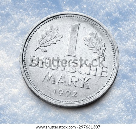 Old german coin of one deutsche mark  - stock photo