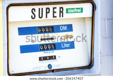 Old German gas pump with DM prices - stock photo