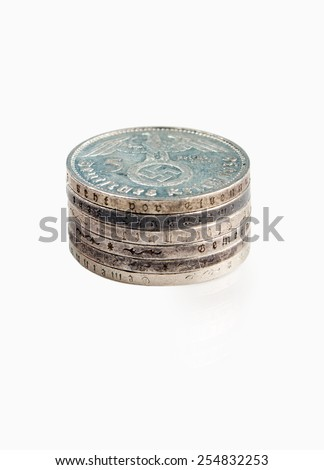 old German silver coins - stock photo
