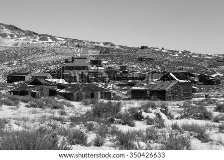 Old ghost town in black and white, Bodie, California, USA. - stock photo