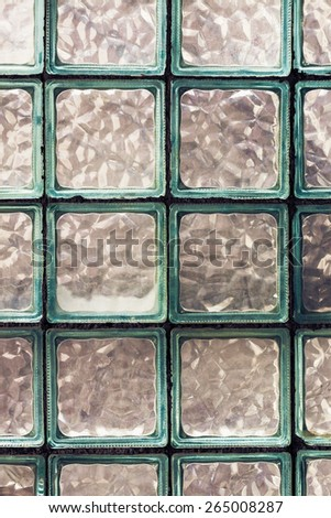 Old Glass Brick Wall. Grunge Effect Toned Photo - stock photo