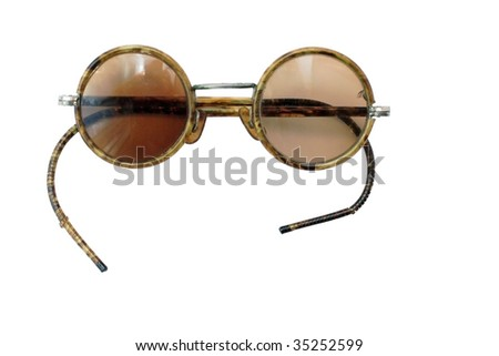 old glasses on a white background - stock photo
