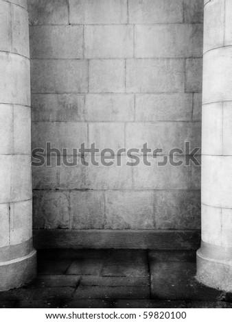 Old gloomy interior with columns - stock photo