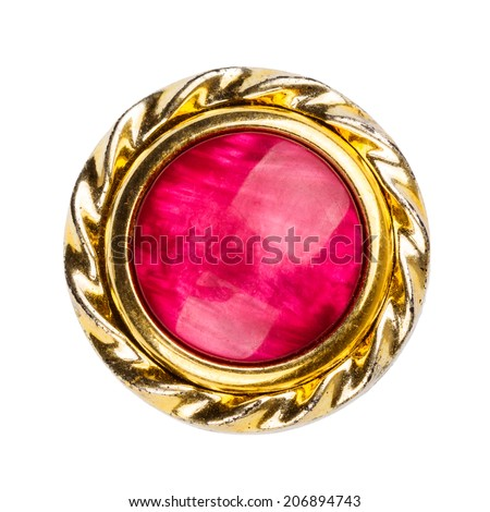 Old gold and red colors brooch isolated on white  - stock photo