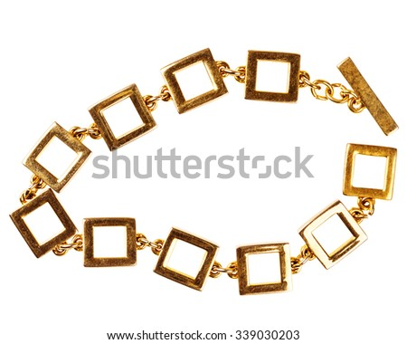 Old gold chain bracelet made of large square links isolated on white background - stock photo