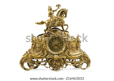 Old gold clock - stock photo