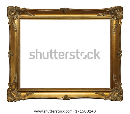 Old Gold Leaf Ornate Frame Isolated on White Background. - stock photo