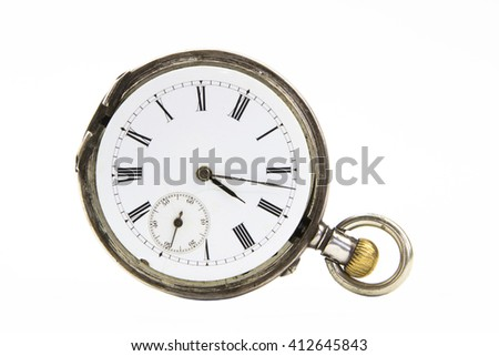 Old gold pocket watch isolated on white background - stock photo