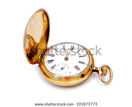 old gold pocket watch on a white background - stock photo