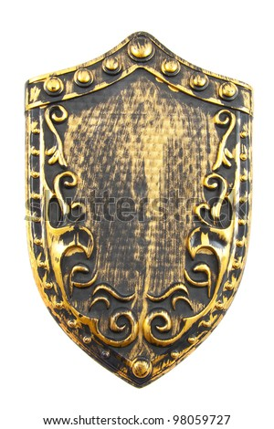 Old golden decorated shield isolated over white - stock photo
