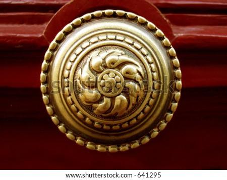 old golden door knocker - stock photo
