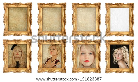 old golden frame with different empty grunge cracked canvas and examples for your picture, photo, image. Four portraits of women - stock photo