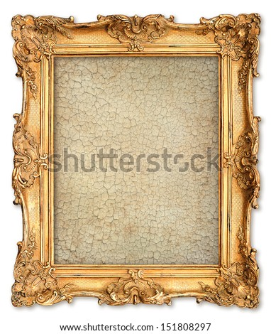 old golden frame with empty grunge cracked canvas for your picture, photo, image. beautiful vintage background - stock photo