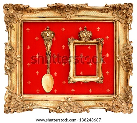 old golden frame with red background. beautiful vintage object - stock photo