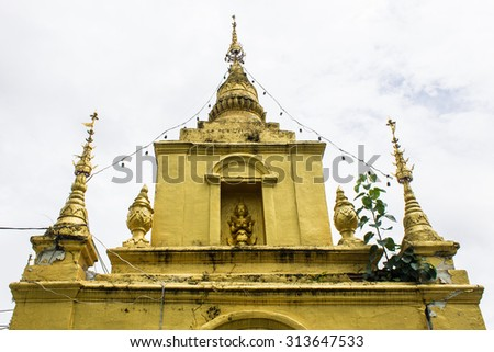 Old Golden Pagoda in Thailand - stock photo