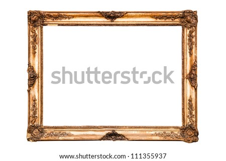 Old golden retro mirror frame (No#23) isolated on white background  (detailed clipping paths included) - stock photo
