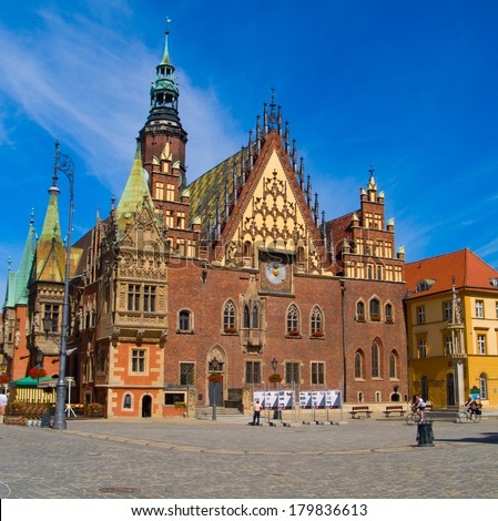 old gothic city hall of Wroclaw, Poland - stock photo