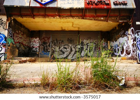 Old graffiti building - stock photo