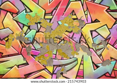 Old Graffiti Wall Background with Flaking, Peeling Plaster. - An illustration with some photographic elements. - stock photo